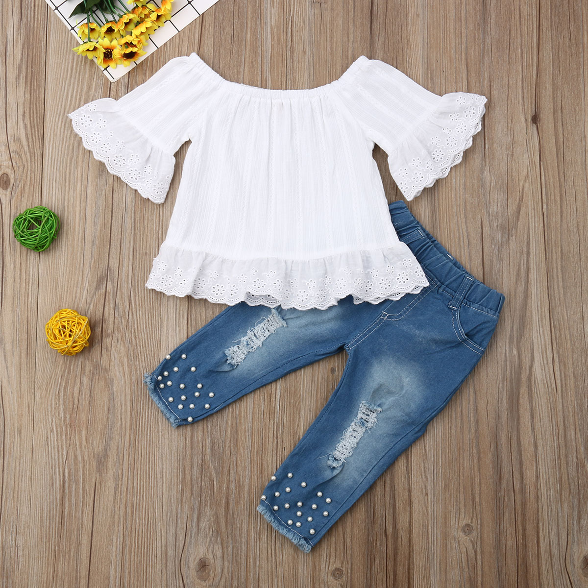 Pudcoco Summer Toddler Baby Girl Clothes Solid Color Off Shoulder Ruffle Tops Denim Pants 2Pcs Outfits Summer Casual Clothes