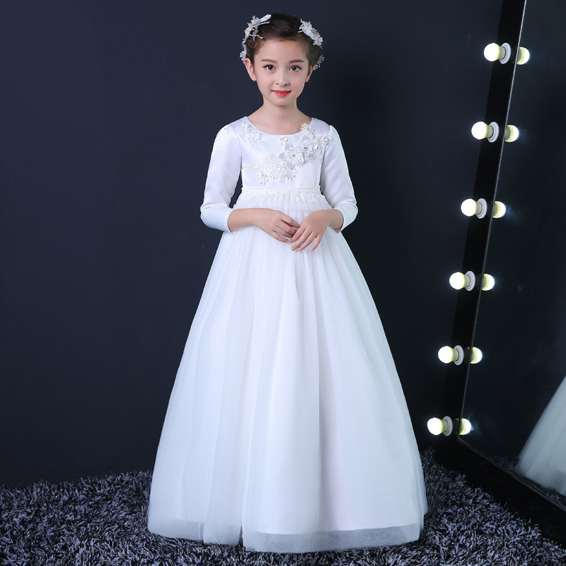 Flower Girl Dress Simple Design Ақ Ұзын Vestidos 3-14 - Балалар киімі - фото 1