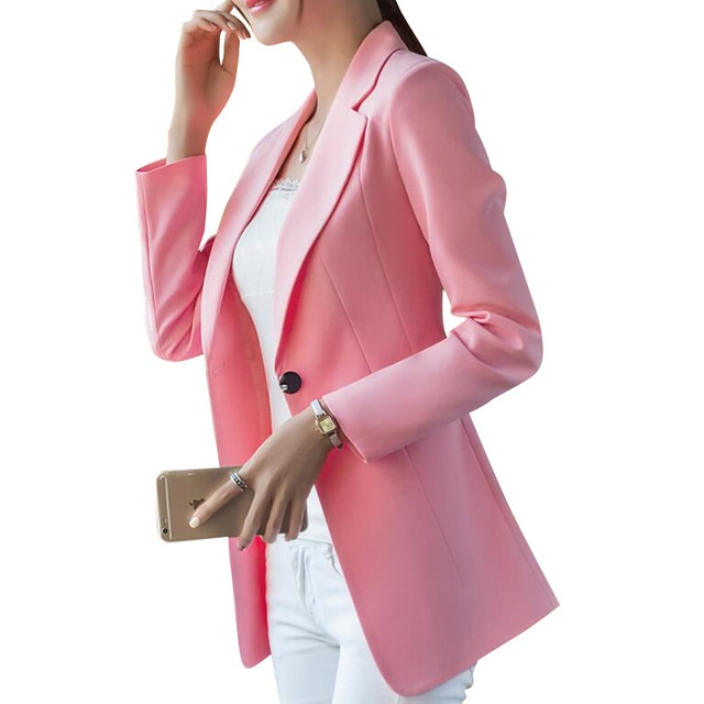 New Pink Fashion Small Shrug Jacket Korean Version Long Paragraph Wild Casual Women Red Blazer Long Sleeve Office Outwear