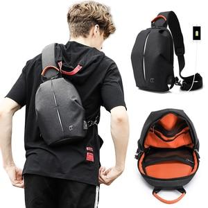 Image 1 - Erkek rahat seyahat çantası erkek göğüs çanta paketi Anti hırsızlık USB su geçirmez omuz Crossbody çantaları genç erkek Mini ipad çantası