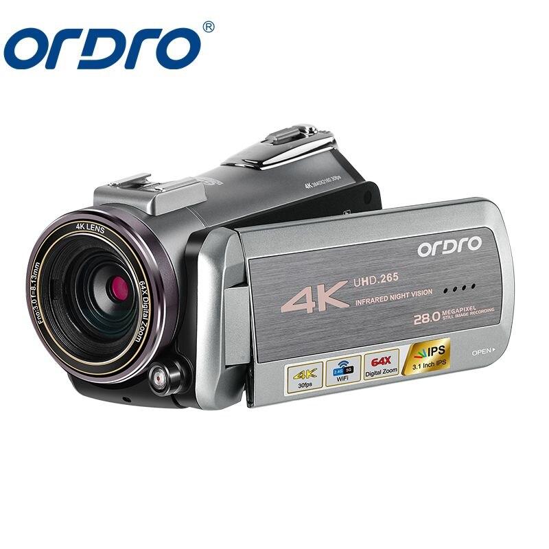 ORDRO AZ50 réel 4 K caméra vidéo 30FPS Vision nocturne 4 K caméscope H.265 Format Support stéréo Microphone GPS récepteur