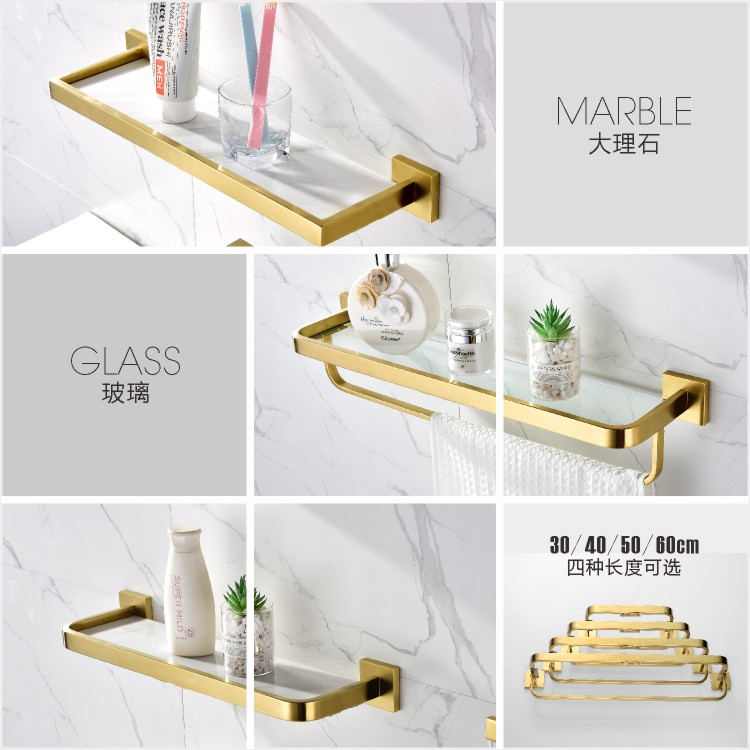 30cm Glass Shelf 304 Stainless Steel Bathroom Accessories Bathroom Organizer Brushed Gold Corner Storage Holder Shelves