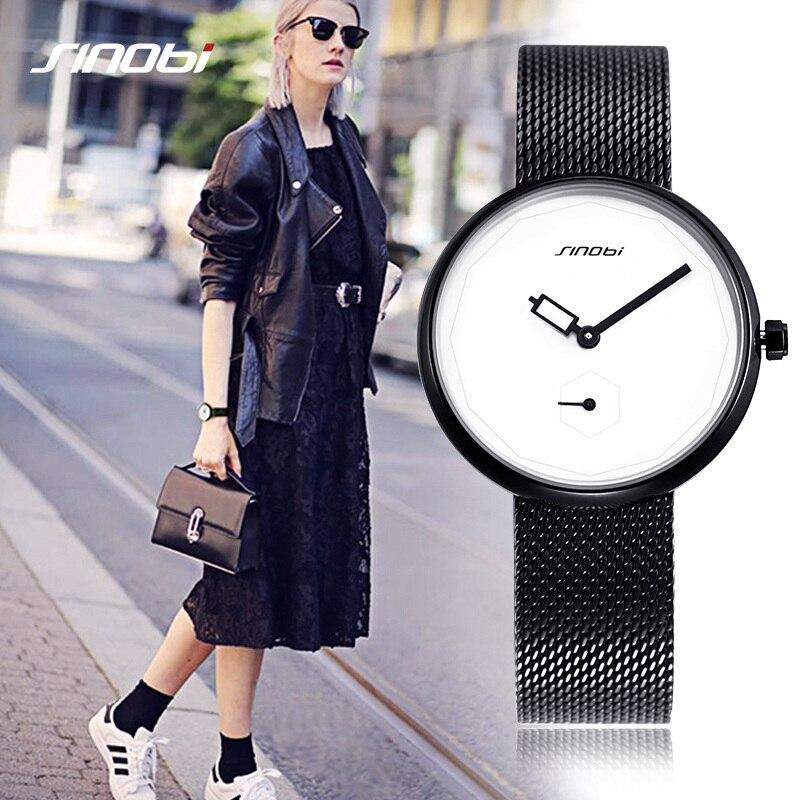 Sinobi lujo de la marca mujeres relojes moda creativa pulsera reloj dial señoras reloj de cuarzo ultra delgado reloj Mujer