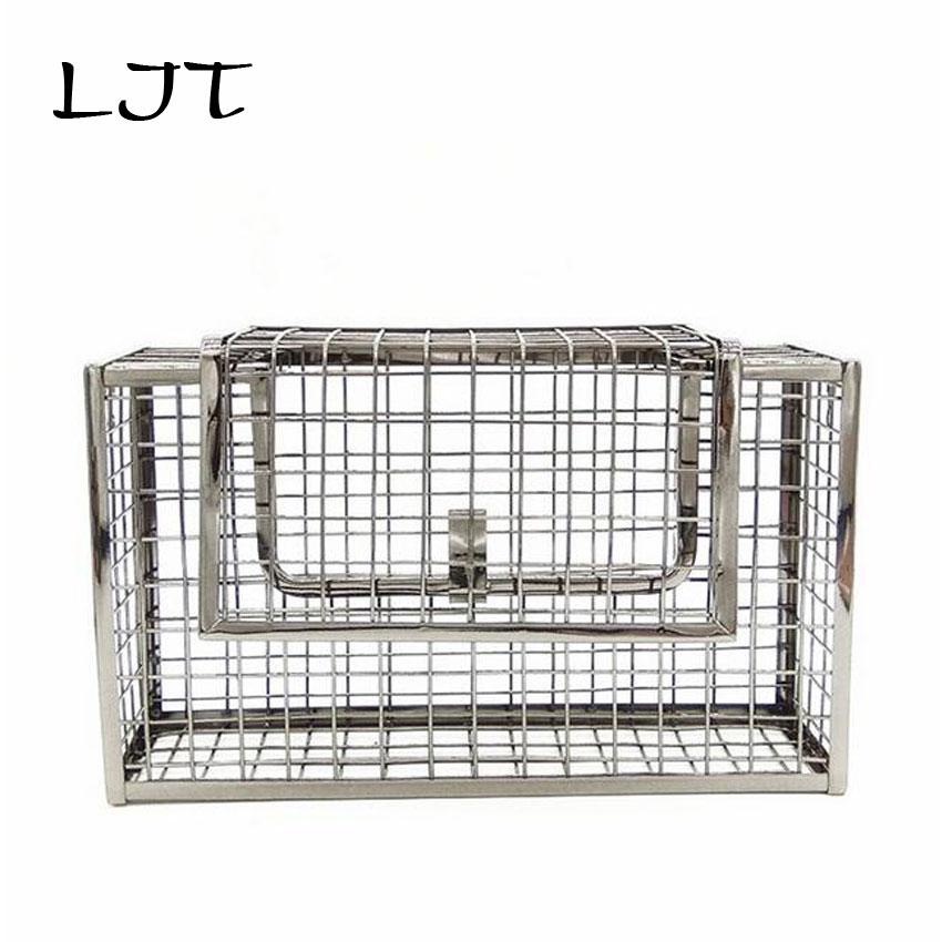 LJT Women Bag Metal Net Bags Clutch Hollow Rose Gold Mesh Grid Cage Chain Evening Shoulder Messenger Bags Purses and Handbags