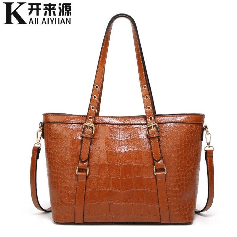 KLY 100% Delle Donne del cuoio Genuino borse 2018 Nuova borsa Calda Europa pacchetto diagonale di spalla di modo del modello del coccodrillo sacchetto portatile