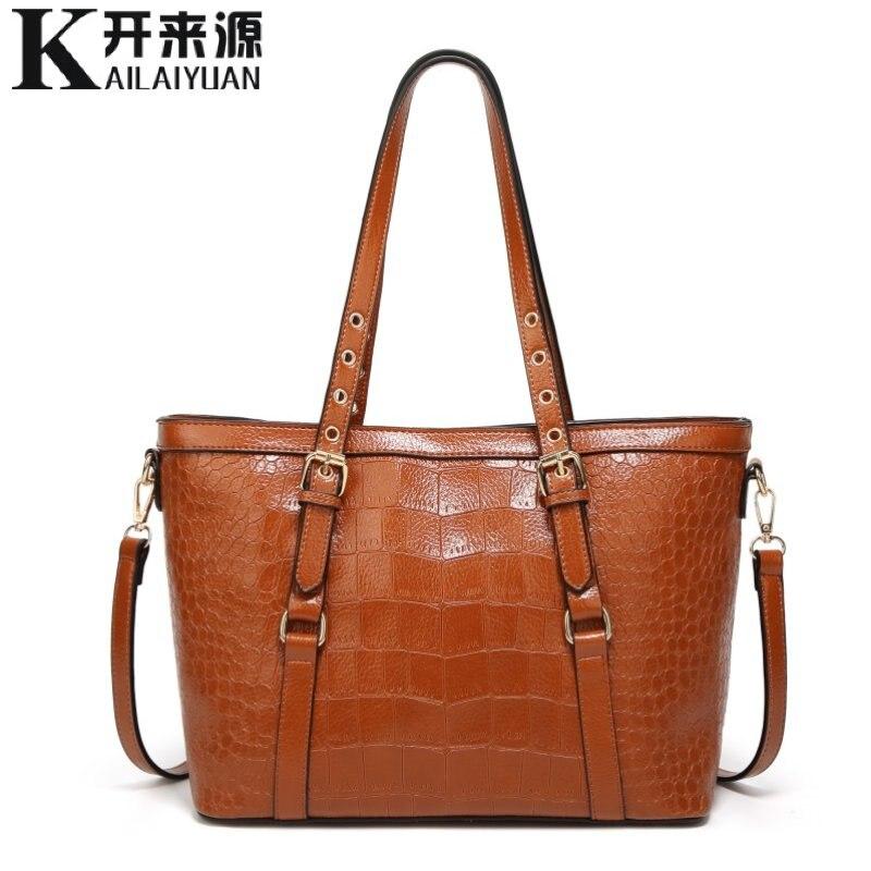 KLY 100% Véritable cuir Femmes sacs à main 2018 Nouveau sac Chaud L'europe épaule paquet diagonal de mode crocodile motif portable sac