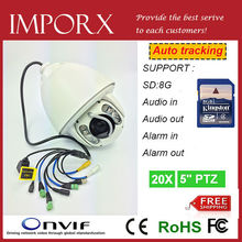 New Auto Tracking PTZ IP Camera outdoor 960P High speed dome cctv camera support audible alarm with 8G SD free shipping vai DHL