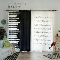 Custom Made 2x Window Drapery Living Room Curtain Window Dressing Tulle Sheer Curtain 200x260cm Piano Key Music Notation White