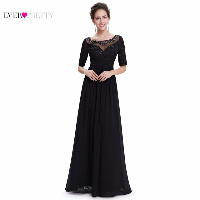 Ever Pretty Mother of the Bride Dresses EP08655 Women's Vestidos Elegant Long Floor - Length Black Evening Dresses