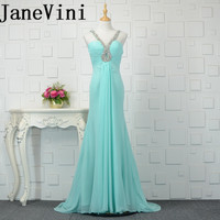 JaneVini 2018 Simple Wedding Bridesmaid Chiffon Beading Sequined Long Bridesmaid A Line Floor Length Bride Formal Party Gowns