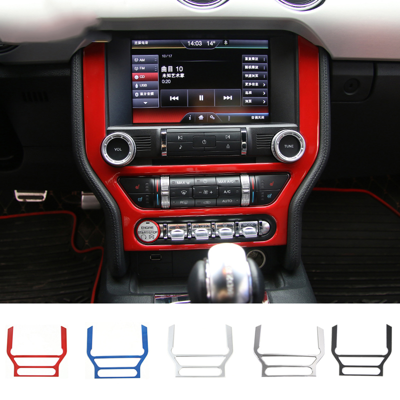 MOPAI Car Interior Dashboard Panel Frame GPS Navigation Decoration Cover Trim Stickers For Ford Mustang 2015 Up Car Styling цена