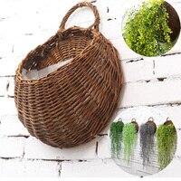 Rattan Flower Basket Flower Pot Planter 31x38cm Hanging Vase Container Home Garden Wall Decoration Garden Supplies
