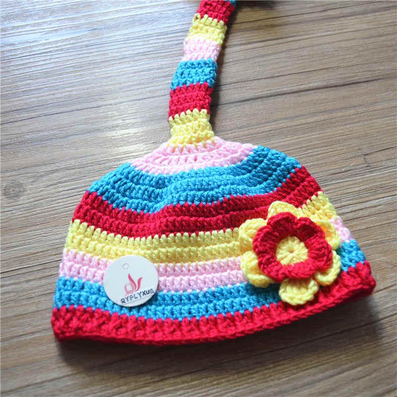 Yenidoğulmuş Crochet körpə şapka uşaqlar yun əl paraqraf uzun - Körpələr üçün geyim - Fotoqrafiya 2