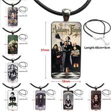 Glass Pendant Necklace Handmade Half Pendant Rectangle Necklace For Men Women Party Gift Wednesday Addams Family(China)