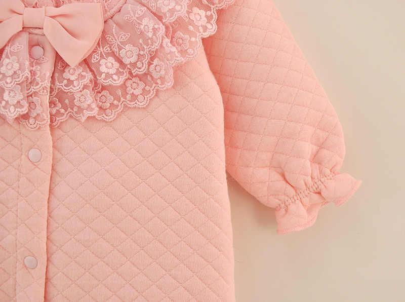 Baru Musim Gugur Musim Dingin Bayi Gadis Kapas Renda Jumpsuit Rompe Secara Keseluruhan dengan Putih Merah Muda Kantong Tidur Bayi Pakaian Lahir 3 M 6 M 9 M