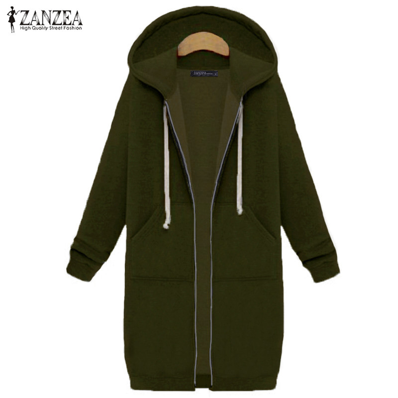 Women's Hooded Sweatshirt ZANZEA 2019 Winter Fleece Warm Long Zipper Outerwear Parkas Woman Tops Jumpers Oversized Coats Jackets