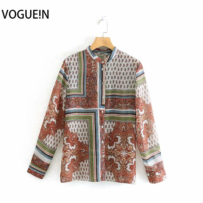 VOGUEIN New Womens Vintage Ethnic Floral Striped Print Long Sleeve Top   Blouse     Shirt   Wholesale