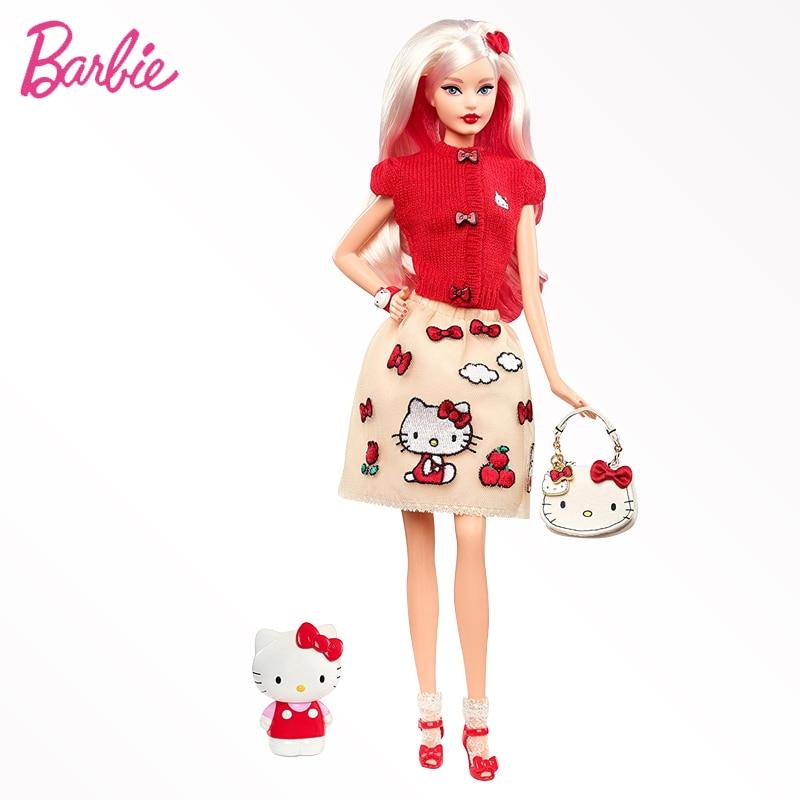 цена на Original Barbie Doll Hello Kitty Girl Best Birthday Collector 's Edition Toy Girl Birthday Present Girl Toys Gift Boneca