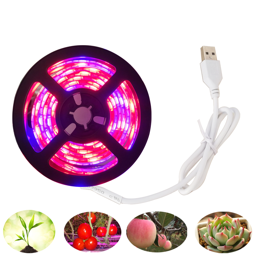 LED Grow Light Full Spectrum USB LED Strip Light Waterproof 5050 60led Chip LED Phyto Lamps For Greenhouse Hydroponic Plant Grow