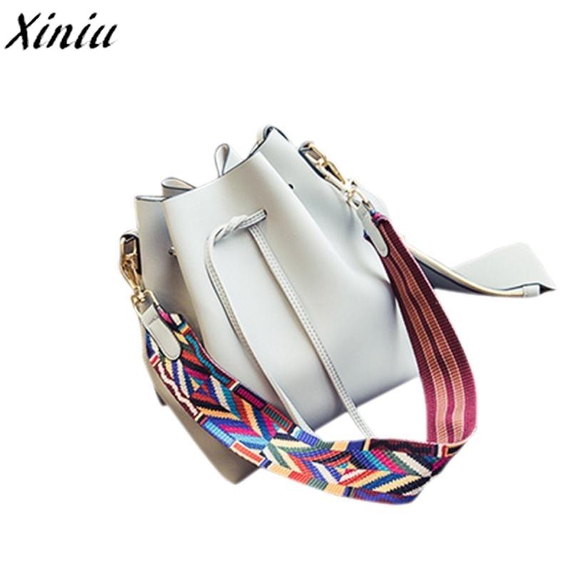 Brand New Women Handbag Solid Leather String Shoulder Bag Colorful Strap Fashion Bucket Bag Carteras Mujer De Hombro #7103