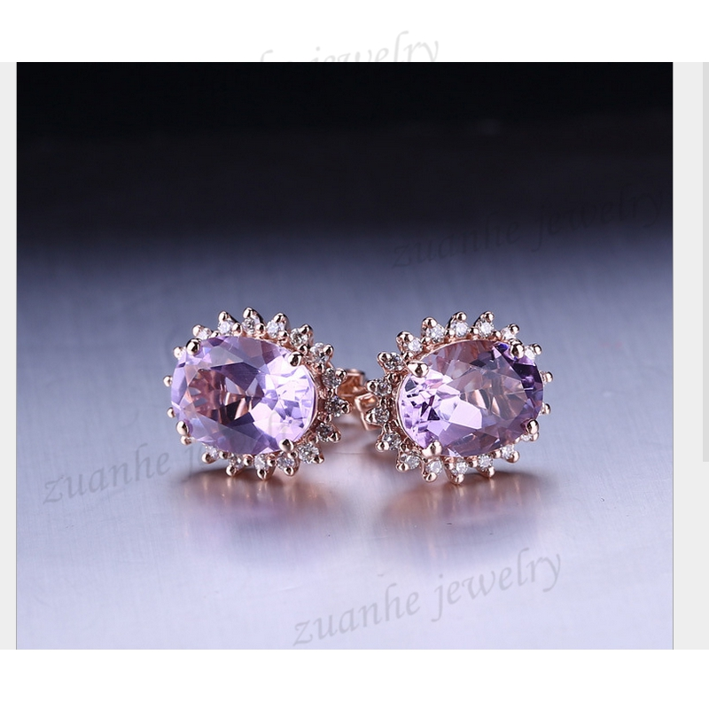 5x7mm Oval Cut Natural Amethyst Women Diamonds Earrings Solid 14k Rose Gold Lady Valentine's day gifts solid 14k rose gold 100