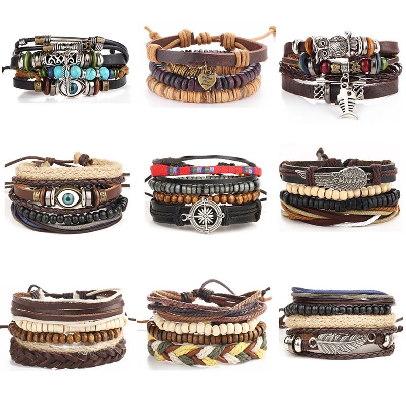 Punk Design Turkish Evil Eye Bracelets For Women Men Wristband Female Owl Leather Bracelet Ethnic colour Vintage Jewelry