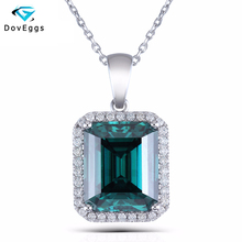 DOVEGGS 14K 585 White Gold 10X12mm Green Emerald Moissanite Accents Halo Pendant Necklace With 18 Chain