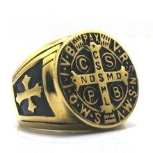 CSPB CSSML NDSMD Святого Бенедикта нурсии 316L нержавеющая сталь золотой католической церкви христианский Иисус Изгоняющий крест кольцо