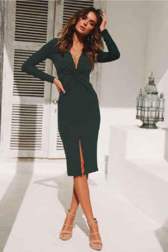 184a5eca0d6 Для женщин облегающее платье Зеленый с длинным рукавом v-образным вырезом  спереди разрез вечерние Формальное