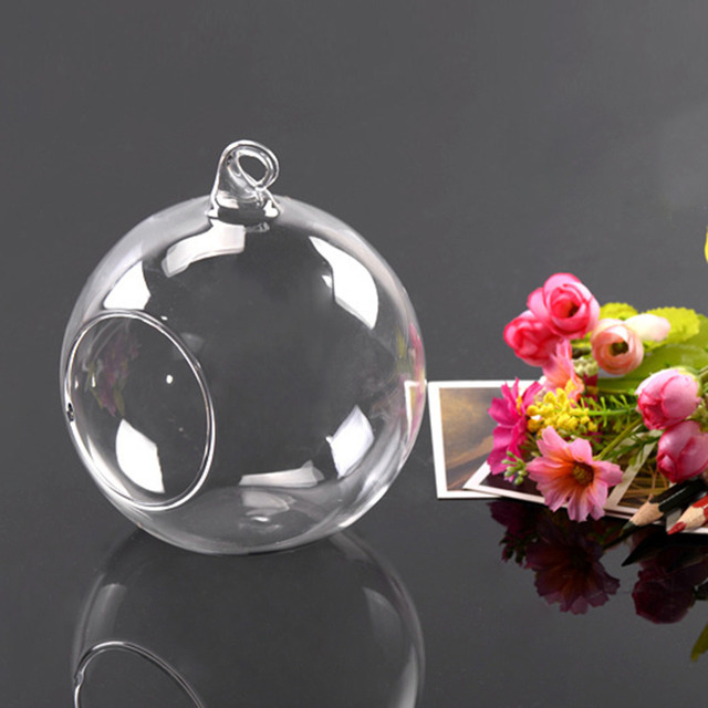 1Pcs Hot Worldwide 10cm Hanging Glass Flowers Plant Vase Stand Holder Terrarium Container