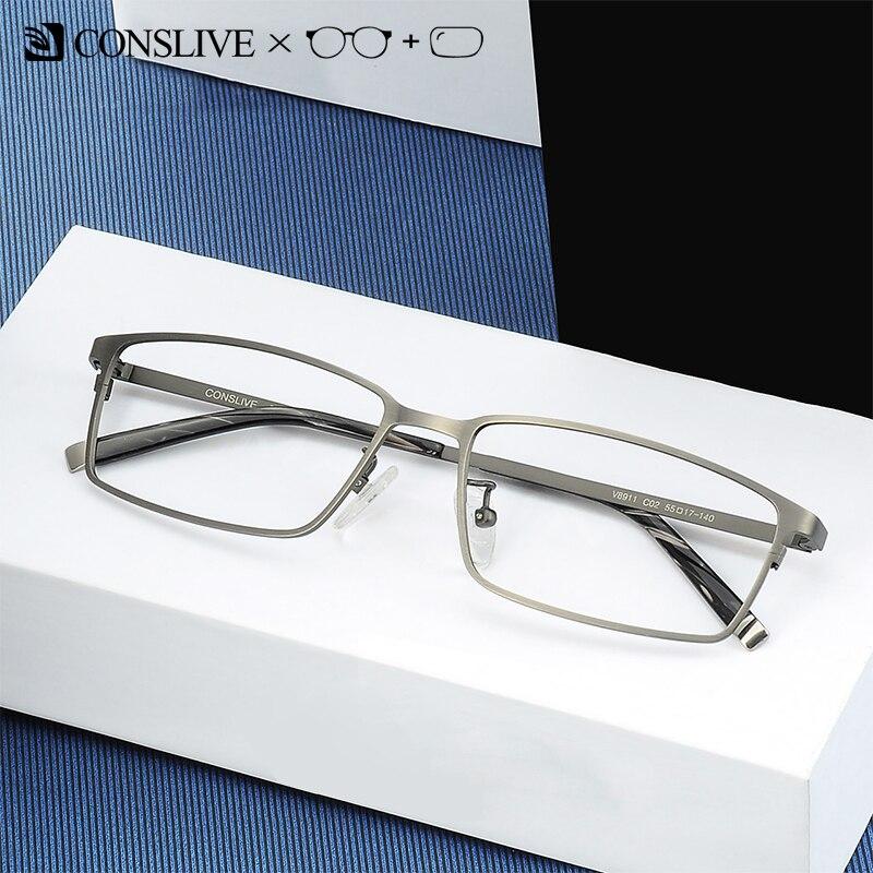Verres de Prescription hommes verres progressifs à monture optique en titane lunettes myope homme lunettes multifocales V8911