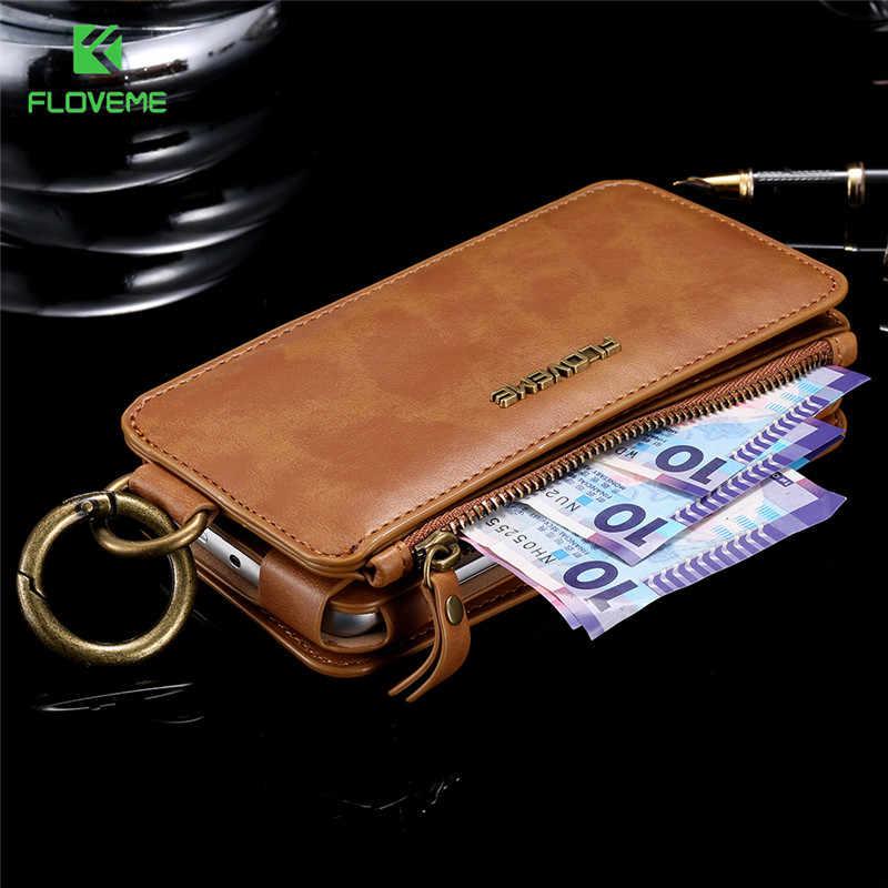 FLOVEME العلامة التجارية الرجعية جلد محفظة حقيبة حالة لسامسونج S6 انفصال 2 في 1 بطاقة فليب حامل غطاء ل سامسونج غالاكسي S6 حالات