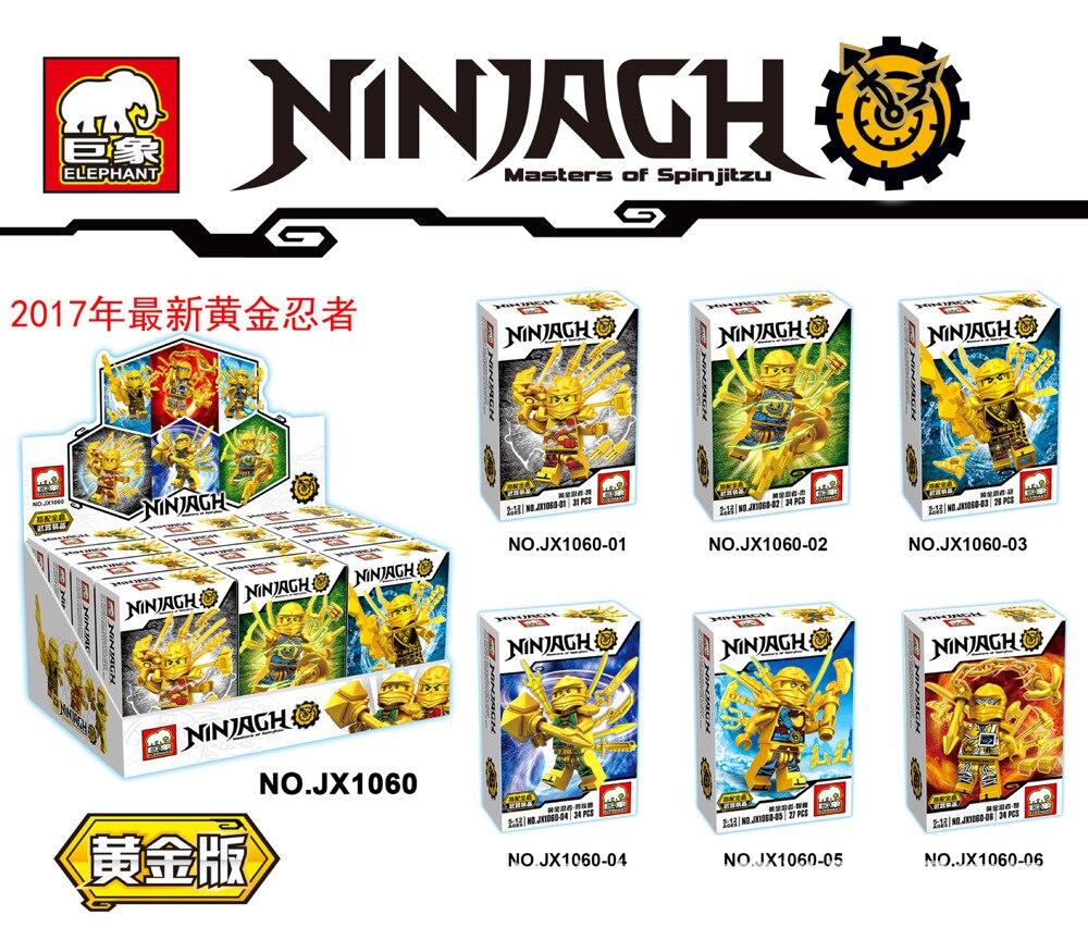 [TOOL] JX1060 gold phantom Ninja minifigures 6 children puzzle DIY assembling small particles blocks toys 6 pieces/set  #0073 phantom phantom ph2139