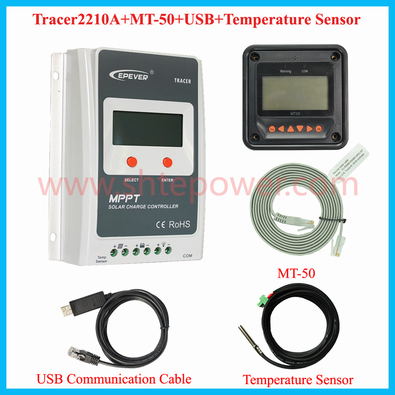 20A Tracer mppt solar charge controller 12v 24v auto work with MT50 LCD and Temperature sensor & USB communication cable wifi box for android app connect use solar panel controller tracer2210cn 12v 24v auto work with usb cable 20a