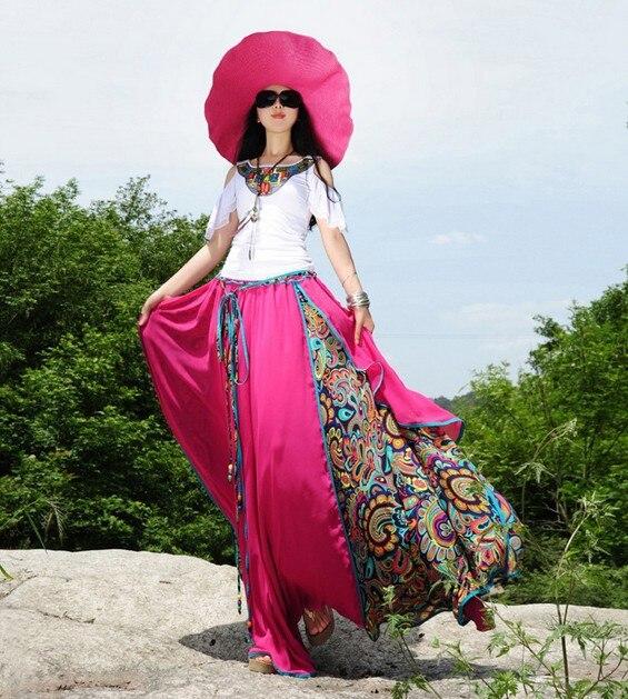 Летняя новая длинная юбка в пол женская шифоновая плиссированная юбка цветочные юбки - Цвет: Красный