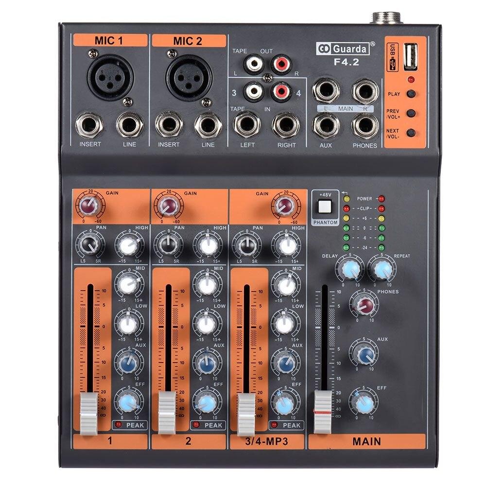 Portátil 4 canal Mic Audio mezclador de consola 3 banda EQ USB interfaz 48 V alimentación Phantom con adaptador de corriente
