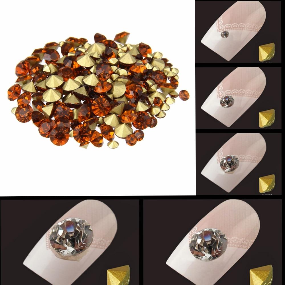 Ногтей Стразы копченая топаз Цвет мини pointback кристалл Камни свободные strass бисера DIY Дизайн ногтей украшения