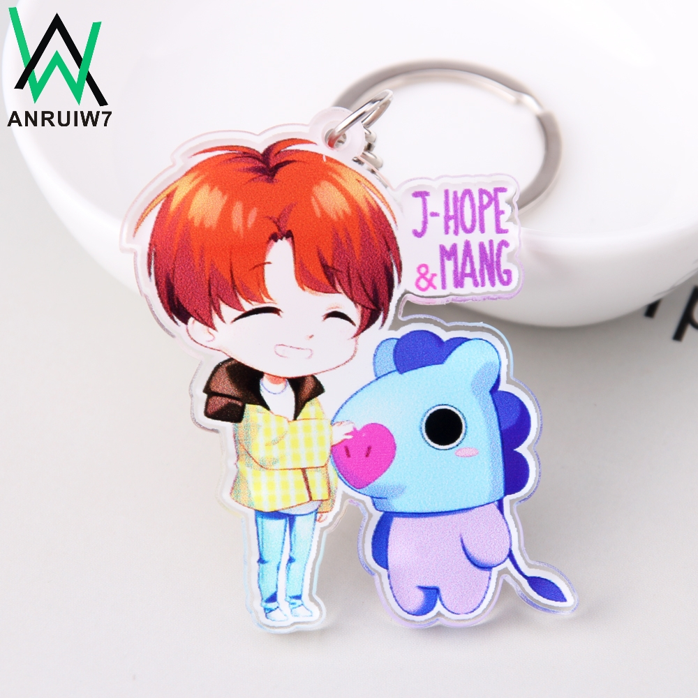New Style Cute Kpop BT21 Key Chain Bangtan Boys BTS Keychain Love Yourself Acrylic J-HOPE V SUGA Women Bag Charm Keyring Gift