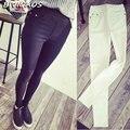 2016 Nova Moda Das Mulheres Primavera Outono Casual Skinny Jeans Leggings Tecido Fino de Alta Elástica Lápis Calças Jeans Bolso Para As Mulheres