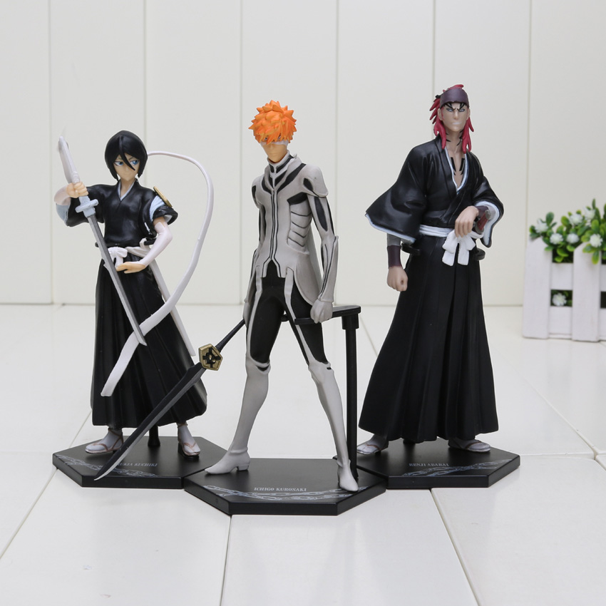3pcs/set 16cm Bleach Kurosaki ichigo Kuchiki Rukia Abarai Renji PVC Action Figures Collectible Toys Bleach Figure 4pcs set bleach kurosaki ichigo kuchiki byakuya pvc action figure model toy doll bl014