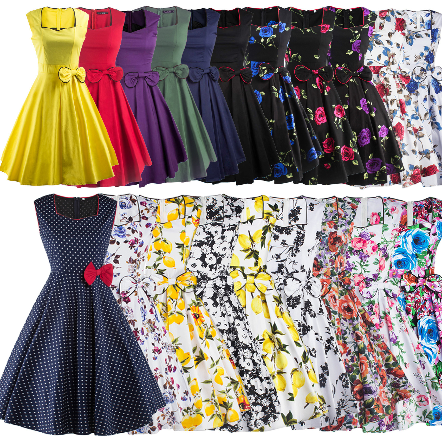 Audrey Hepburn Style <font><b>1950s</b></font> <font><b>60s</b></font> <font><b>Dresses</b></font> Summer Sleeveless <font><b>Dress</b></font> Women Retro rockabilly <font><b>Dresses</b></font> 19 colors size S-2XL image
