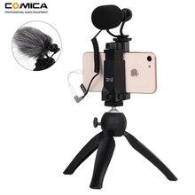 مجموعة فيديو كومكا للهواتف الذكية CVM VM10 K2 الحامل الصغير ثلاثي القوائم مع جهاز ميكرفون صغير للفيديو لهواتف آيفون وسامسونج وهواوي