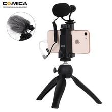 Comica Smartphone וידאו ערכת CVM VM10 K2 הבמאי מיני חצובה עם מיני וידאו אסדת מיקרופון עבור iPhone סמסונג Huawei טלפונים
