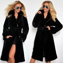 Зимнее женское пальто из искусственного меха, Женское зимнее теплое плотное шерстяное пальто, куртка, новая мода, Черное длинное пальто с поясом