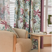 New Arrival High Quality Light Purple Floral Printed Cloth Curtain Polyester Blockout Cloth Curtain for Living Room