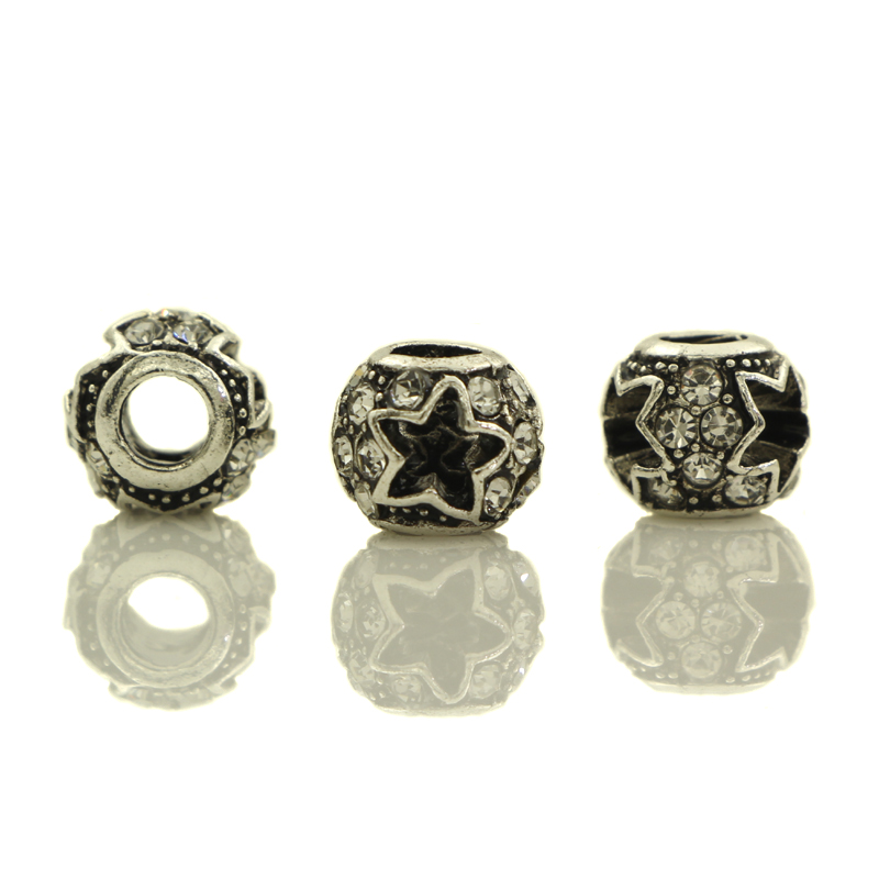 wholesale 20-50pcs White Crystal Tibetan Silver Plated Carved Star Spacer European Big Hole Beads For Jewelry Charms Bracelets