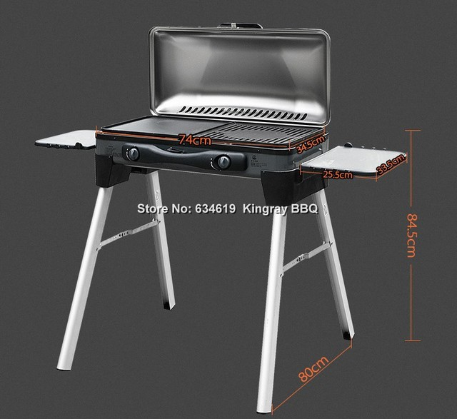 Thickened Stainless Steel Folding Portable Propane Gas Bbq Grill Outdoor  Camping Picnic LPG Gas Barbecue Grill