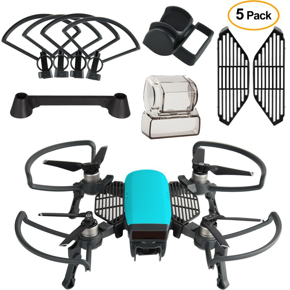 Dji Spark Accessories kit 2 In 1 Propeller Guard with Foldable Landing Gear, Gimbal Camera Guard, Lens Hood, Finger Guard Board easttowest dji spark accessories hard shell dji spark backpack waterproof storage bag for spark body remote all accessories