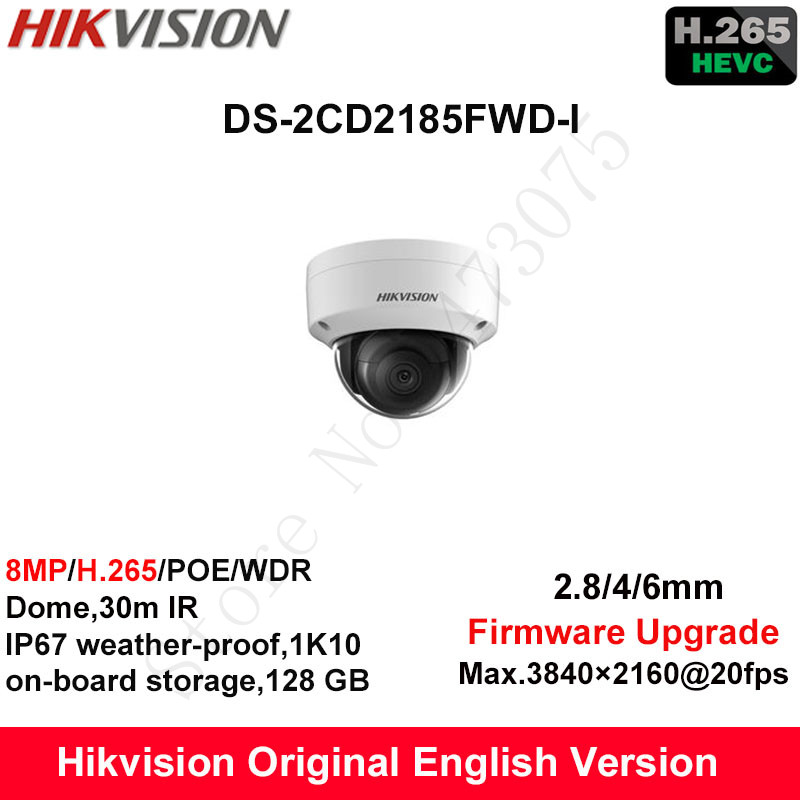 Hikvision Original English Security Camera DS-2CD2185FWD-I 8MP H.265+ Mini Dome CCTV Camera WDR IP Camera POE Fixed IP67 1K10 hikvision new released 8mp h 265 network dome camera ds 2cd2185fwd i 3d dnr bullet camera 3840 2160 resolution ik 10 ip 67
