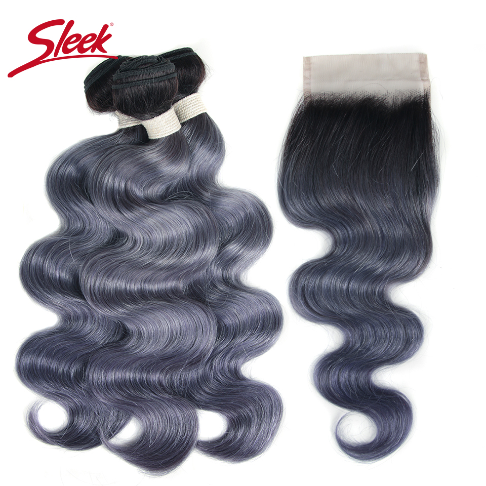 Sleek Brazilian Virgin Hair Body Wave With Closure Human Hair Weave Bundles With Lace Closure Grey Ombre Bundles With Closure